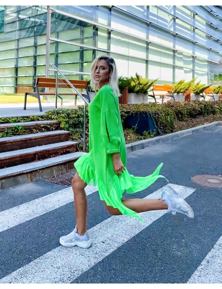 rochie din bumbac verde neon